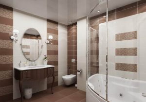 бежевый кафель и натяжной потолок ванная комната