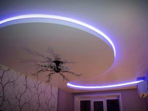 полотно монтируется обычным профилем и LED лента ставится ниже под карниз