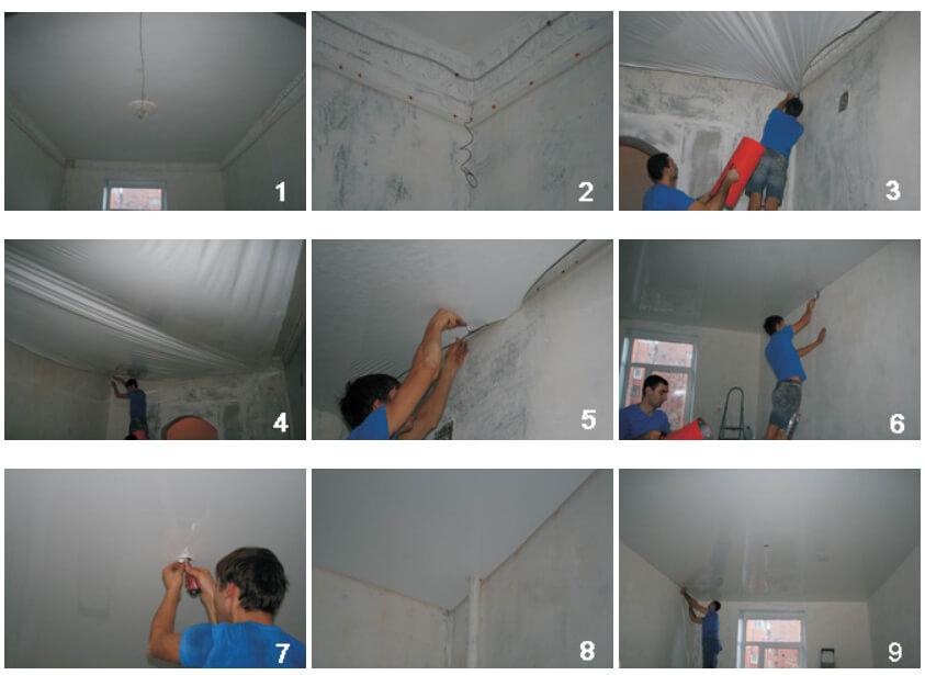 Подготовка помещения к монтажу натяжного потолка 1
